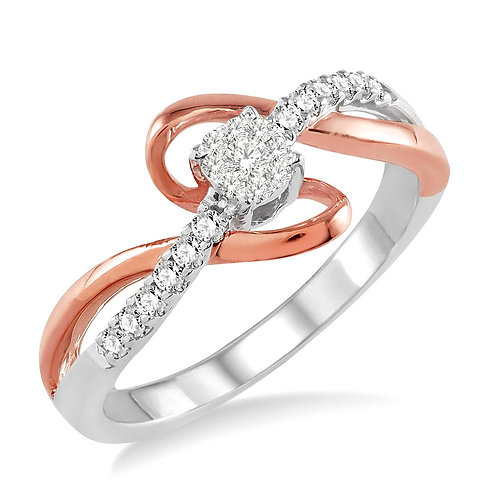 """14K white and rose gold diamond engagement ring with """"WOW!"""" Diamond cluster center and rose gold swirl accent. Diamond ring."""