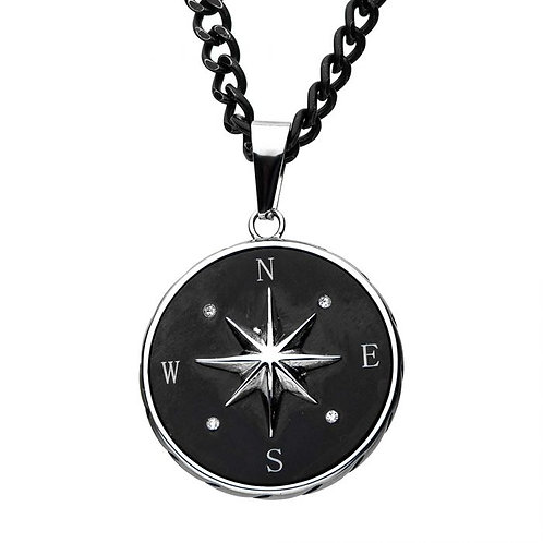 Stainless steel nautical compass pendant with black plated contrast and black stainless steel chain. Men's chain pendant.