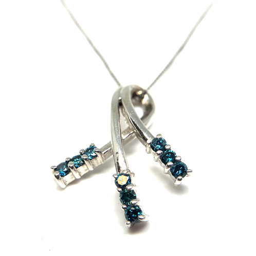14k white gold and 25cttw blue diamond shooting star pendant aloadofball Image collections