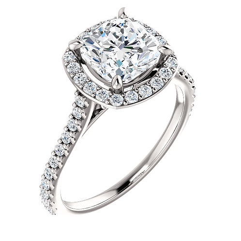 14K white gold diamond engagement ring with diamond halo and diamond accented shank. Diamond halo engagement ring. Halo ring.