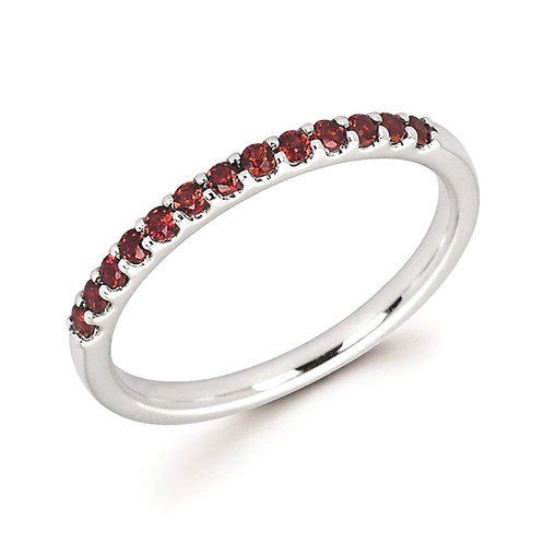 14K white gold and garnet birthstone stackable ring. January stackable ring. White gold garnet ring. Garnet stackable ring.