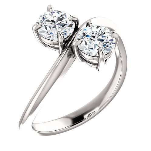 14K white gold two stone ring. 2-stone ring. 2 stone ring. Two-stone ring. Double diamond ring. Ever us ring. Forever us .