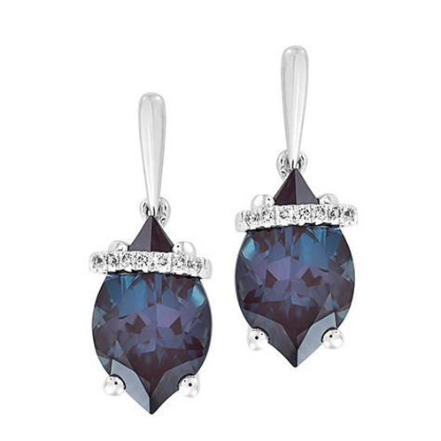 14K white gold and lab grown alexandrite earrings. Flame cut alexandrite earrings with diamonds and white gold. White gold.