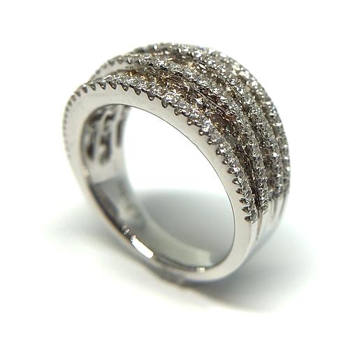14K white gold ring with white and champagne diamonds. Colored diamonds. Yellow diamonds. Brown diamonds. Chocolate diamonds.