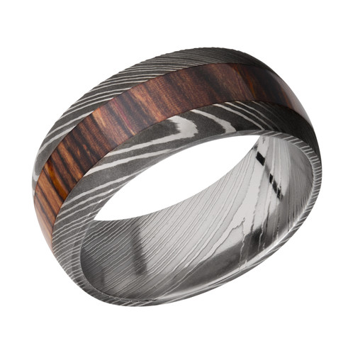 Mens Damascus Steel Wedding Band with Cocobollo Wood Inlay