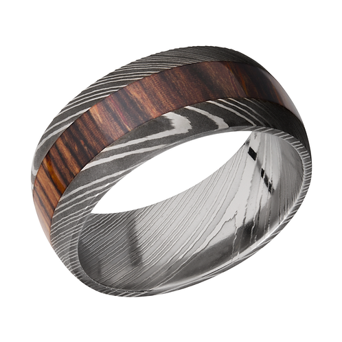 Men's damascus steel ring with cocobollo wood inlay. Men's steel and wood ring. Men's sword ring. Men's black wedding ring.