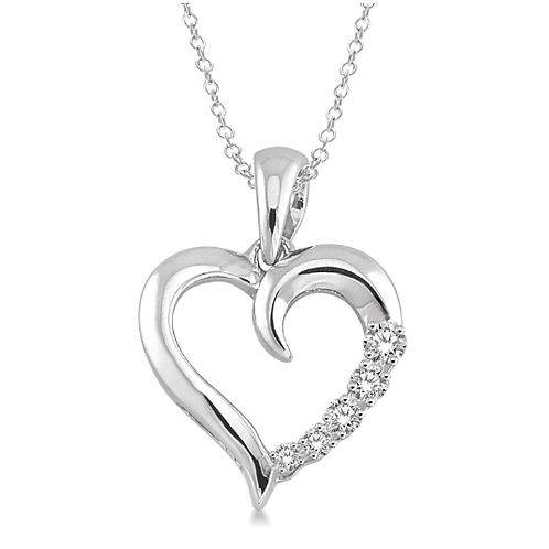 Sterling silver and .03cttw diamond journey heart pendant. Journey pendant. Diamond necklace. Diamond heart. Heart pendant.