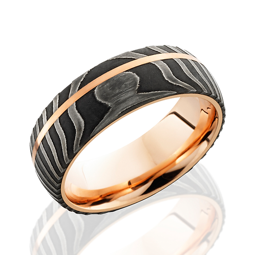 Men's Damascus steel wedding band with rose gold sleeve and rose gold inlay. Black men's ring. Steel men's ring. Damascus.