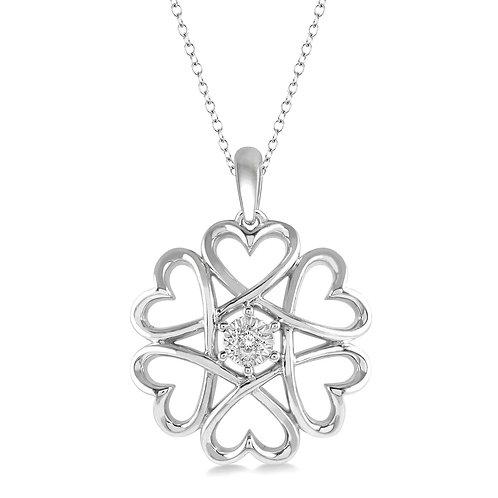 Diamond heart flower pendant. Heart spiral. Diamond heart necklace. Heart pendant with diamond in sterling silver. Sterling.