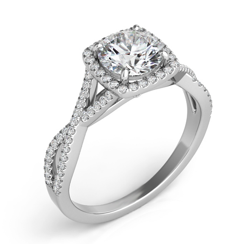 14K white gold twisted shank style engagement ring with round diamond center and cushion shaped diamond halo.
