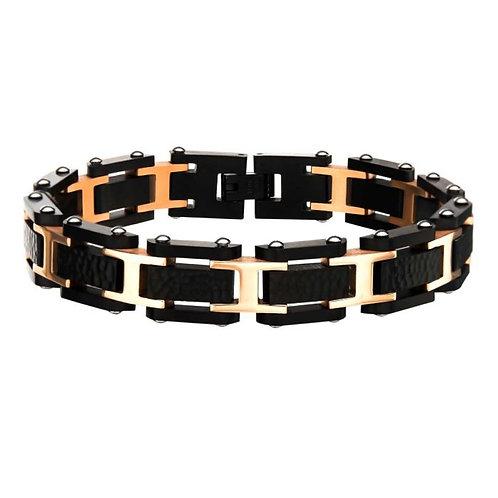 Pebble finished black stainless steel link bracelet with rose gold plated steel accents. Rose and black bracelet. Men's black