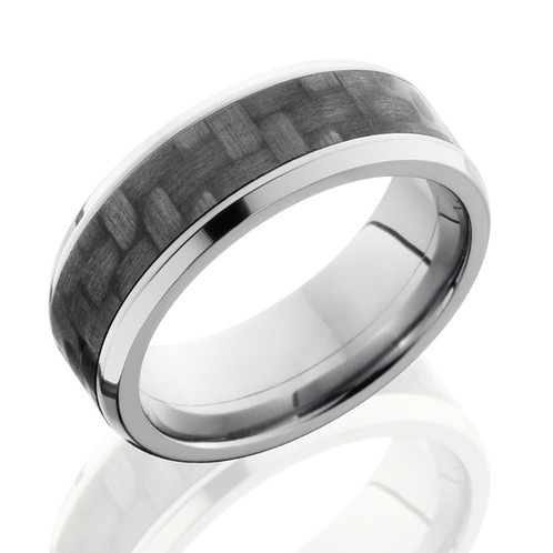 mens titanium wedding band with black carbon fiber inlay black wedding band carbon fiber - Carbon Fiber Wedding Rings