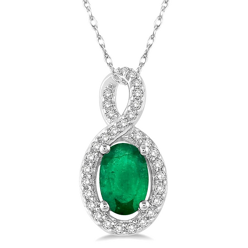 14K white gold diamond and emerald pendant. Emerald halo pendant. May birthstone pendant. Emerald pendant. Oval emerald. Oval