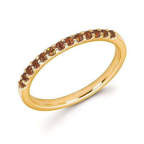14K yellow gold and citrine birthstone stackable ring. Prong set stackable birthstone ring with November citrine birthstone.
