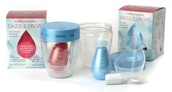 Connoisseurs Dazzle Drops jewelry cleaners. Examples of products for cleaning jewelry at home.