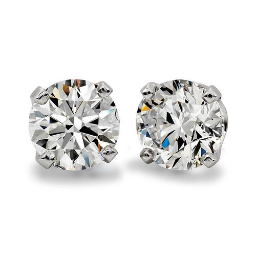14K white gold and diamond stud earrings. Signature series diamond stud earrings. Upgradeable upgradable stud earrings. Studs