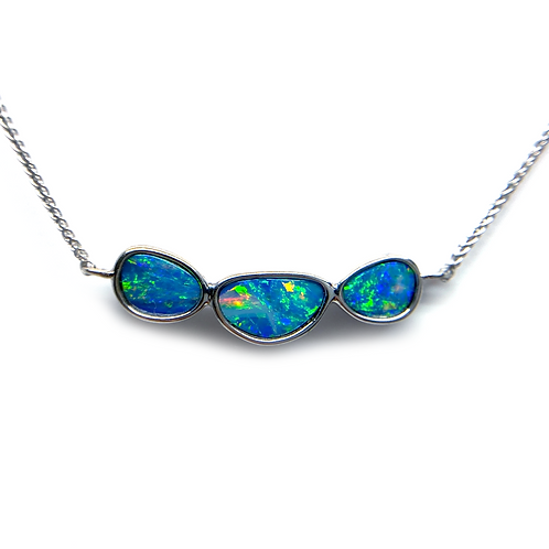 14K white gold Australian opal doublet pendant necklace. Bar necklace with opal doublets. Triple doublet necklace. White gold