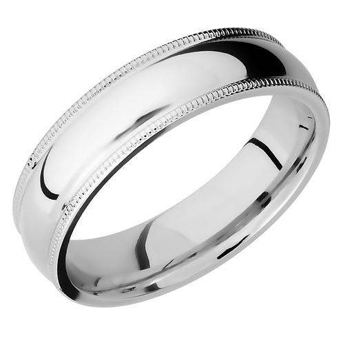 Men's cobalt chrome wedding band with domed profile and millgrained stepped edges. Millgrain finished men's ring. Men's band.