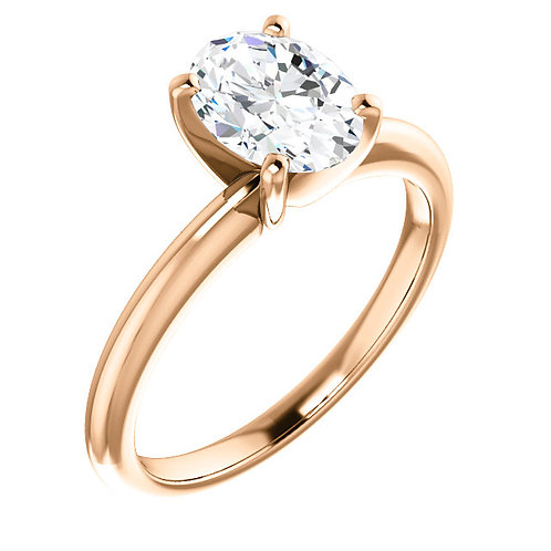 14K rose gold diamond engagement ring with oval diamond center stone. Oval diamond solitaire engagement ring. Oval diamond.