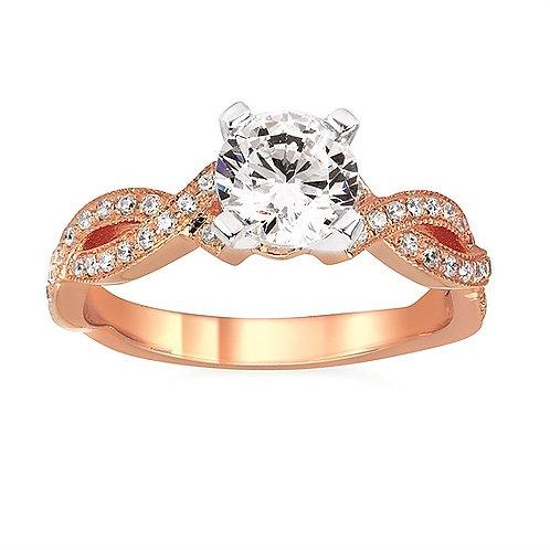 14K rose gold diamond engagement ring with twisted woven shank. Woven engagement ring. Rose gold diamond ring. Diamond band.