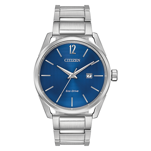 Men's stainless steel Citizen Ecodrive watch with blue metallic dial. Royal blue Citizen watch. Men's blue watch. Men's solar