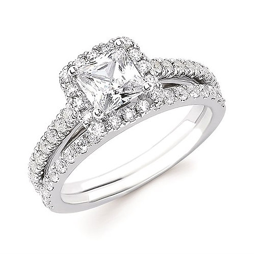 White gold engagement ring with princess cut diamond center. Diamond halo and diamond accented band. Diamond matching band.