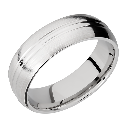 Men's cobalt chrome wedding band with satin finish and polished stripe accented center. Men's satin comfort fit band. Men's.