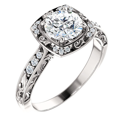 14K white gold vintage inspired diamond engagement ring with carved scrollwork. Scroll engagement ring. Vintage engagement.