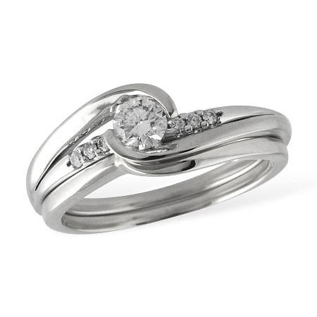 14K White Gold Bezel Set Diamond Engagement Ring And Wedding Band Complete