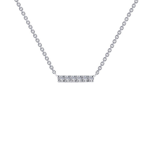 Simulated diamond bar necklace. Bar pendant. Simulated diamond bar pendant. Crystal bar necklace. Sterling silver necklace.