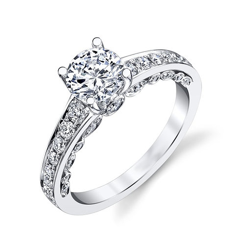 14K white gold diamond engagement ring with channel set accent diamonds and side peek-a-boo diamond trellis. Diamond ring.