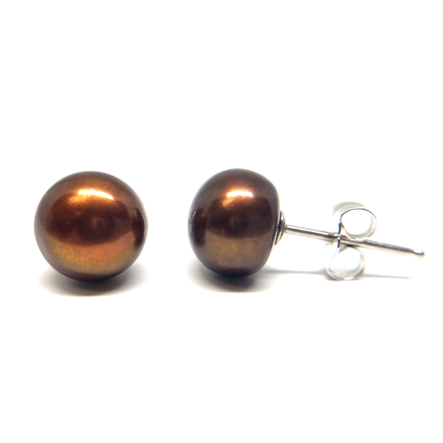 4683018c2 Sterling Silver and 8-9mm Bronze Freshwater Pearl Stud Earrings