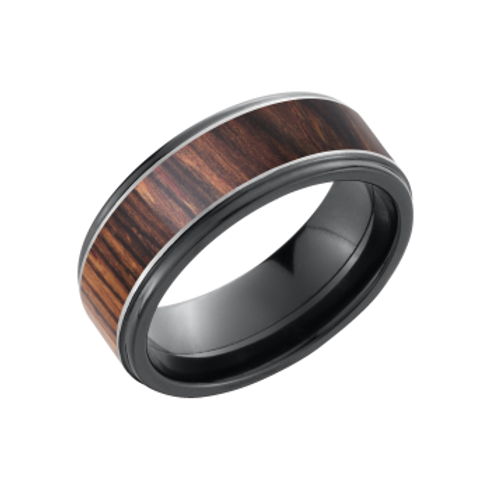 Men's black zirconium wedding band with exotic cocobollo wood inlay and polished silver inlay. Men's wood ring. Men's black.