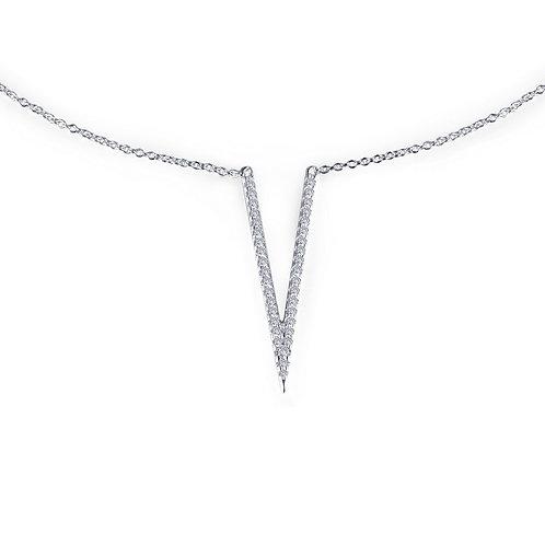 "Platinum plated sterling silver ""V"" shaped choker necklace with adjustable chain. Adjustable ""V"" necklace. Choker necklace."