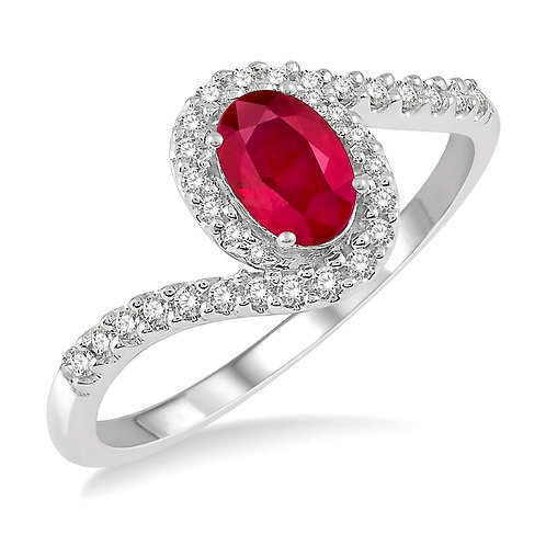 10K white gold ring with oval ruby and diamond bypass halo. Halo ruby ring. White gold ruby ring. Diamond and ruby ring. Ruby