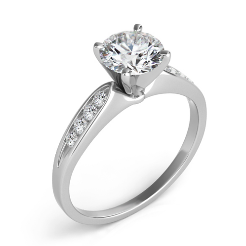 14K white gold engagement ring with channel set accent diamonds. Accented engagement ring. Channel set engagement ring.