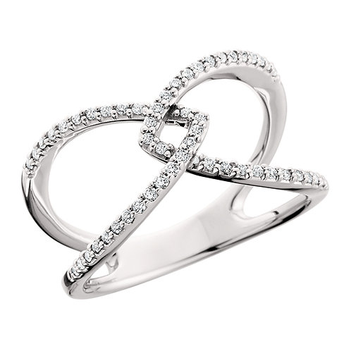 """14K White gold and diamond criss-cross """"X"""" ring with micro prong set diamonds. Diamond cocktail ring. Right hand ring. X Ring"""