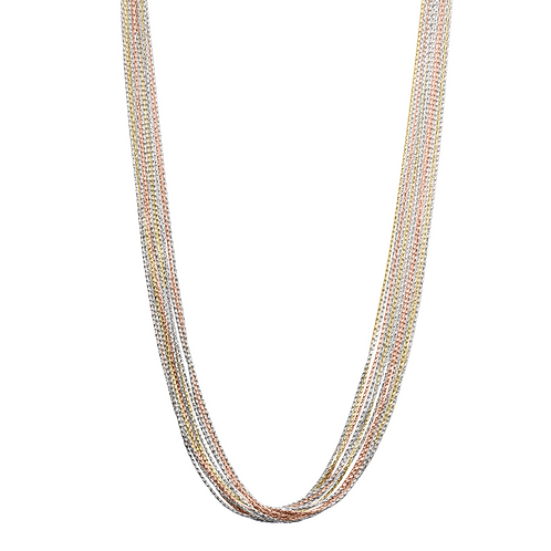 Rose and yellow gold plated sparkle necklace. 12 strand sparkle necklace. Sparkle chain necklace. Italian chain necklace.