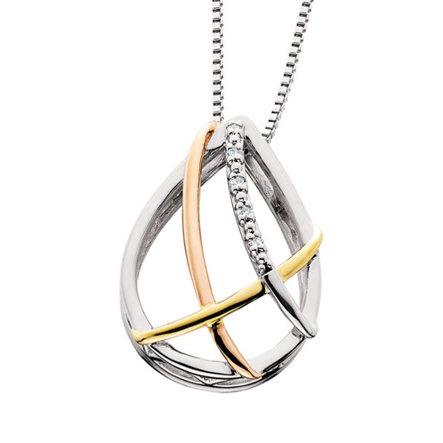Rose and yellow gold plated sterling silver and 015cttw teardrop rose gold and yellow gold plated sterling silver teardrop pendant necklace elegant pear shaped design mozeypictures Image collections