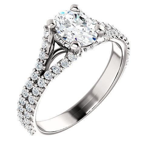 14K white gold diamond engagement ring. Diamond accented engagement ring. Split shank engagement ring. White gold ring.