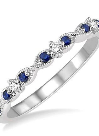 14K White Gold, .08ct Diamond and Sapphire Stackable Infinity Motif Ring