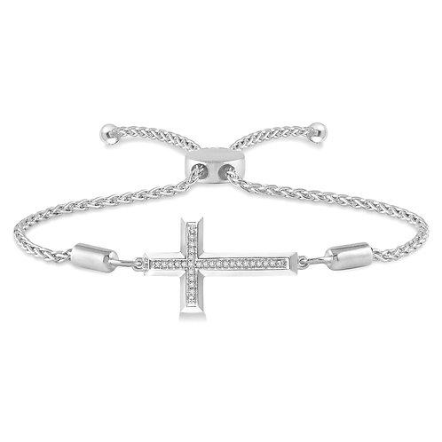 Sterling silver and diamond cross bracelet. Adjustable cross bracelet. Lariat bracelet. Sterling silver bracelet. Diamonds.