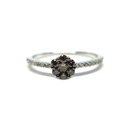 14K white gold ring with brown and white diamonds. White diamond petite ring. Diamond accented ring. White gold diamond ring.