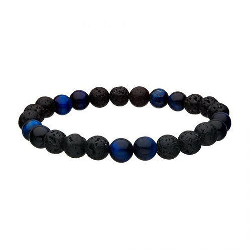 Men's bracelet with black lava rock and blue tiger's eye beads. Stretch bracelet with 8mm lava rock beads and tiger's eye.