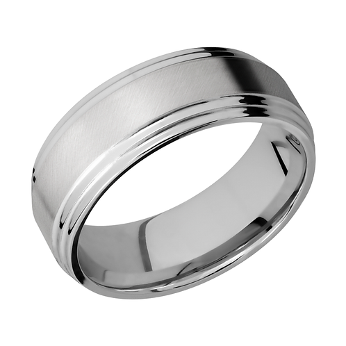 Men's flat cobalt chrome wedding band with satin finish and double stepped edges. Men's band. Men's ring. Wedding band. Men's