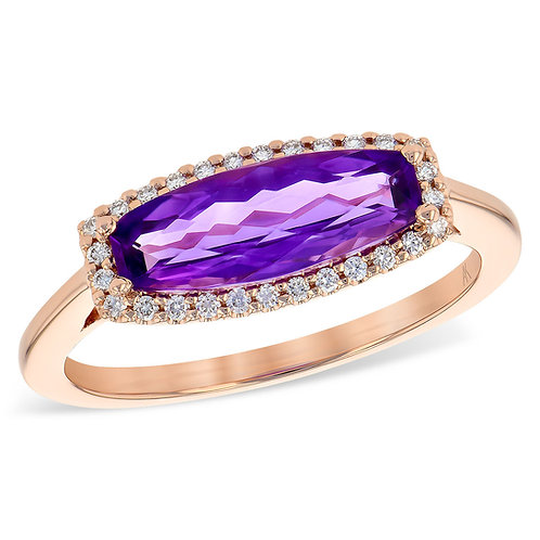 14K rose gold amethyst ring with diamond accents. Diamond and amethyst ring. February birthstone ring. Baguette amethyst ring
