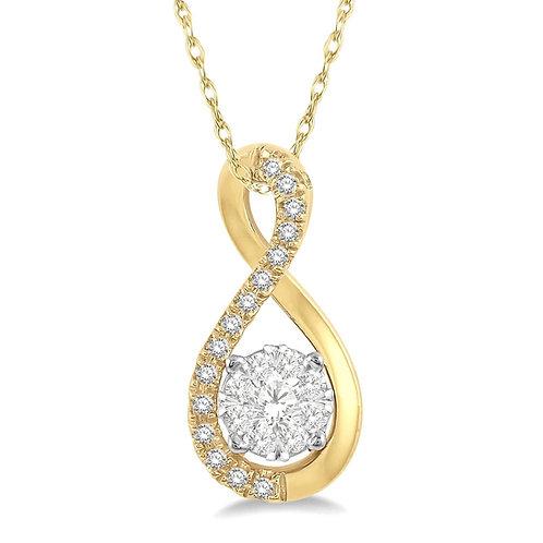 14K Yellow gold WOW diamond pendant. Yellow gold diamond necklace. Figure 8 pendant. Twisted yellow gold diamond pendant.