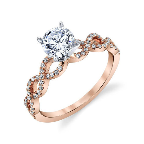 14K rose gold diamond engagement ring with diamond accented twisted woven shank. Infinity design engagement ring. Rose gold.