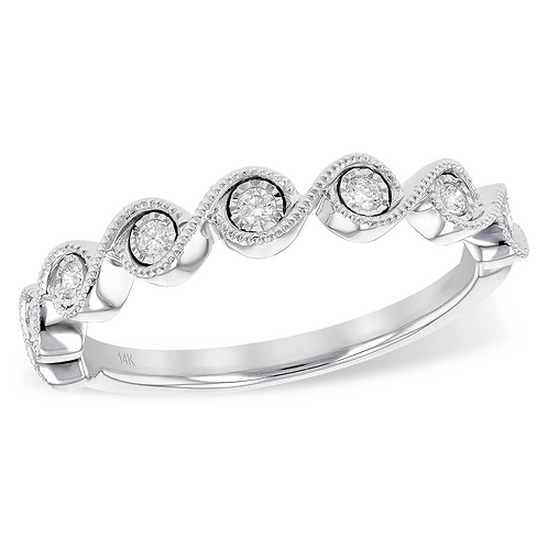 14K white gold diamond stackable ring with wave design. Vintage inspired wave design with millgrain details. White gold band.