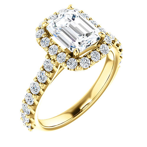 14K yellow gold diamond engagement ring with cathedral shank and diamond accented band. Halo engagement ring. Halo cathedral.